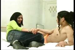 Nasty tranny taking a horny brunette's pussy