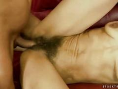 Hairy granny fucks her young lover