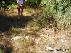 Hot blonde amateur girlfriend outdoor suck and fuck with cum