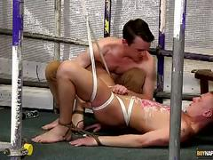 Bondage hunk tortured and jerked