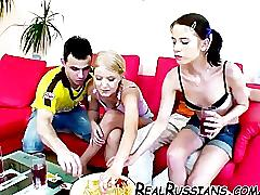 Two euro couples fucking at home
