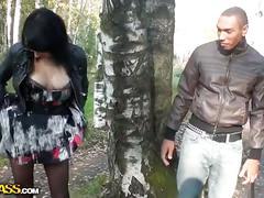 Amateur brunette slut fucked hard in the woods