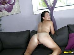 Brunette with small tits banged on the couch