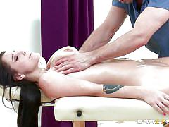 young, tattoo, massage, piercing, busty, oiled, brunette, rubbing, tits squeezing, dirty masseur, brazzers network, bill bailey, noelle easton