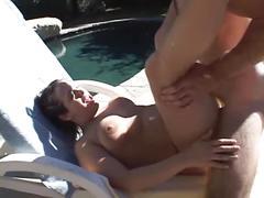 Guy drills horny chubby girlfriend by pool