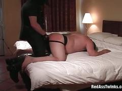Chubby dude gets spanked in doggystyle.