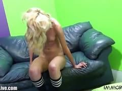 Young blonde teen is pumping porno dan's cock!