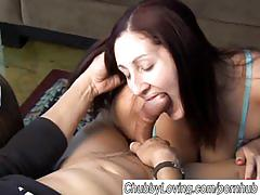 Lovely chubby brunette sucks and fucks