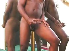 Ebony stud tank jerking monster cock