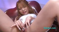 Asian girl masturbating with vibrator fingered by...