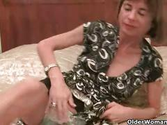 Very skinny granny strips off and masturbates