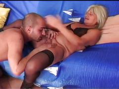 The blonde granny get hard rammed by a hard dick