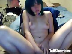 Cute emo girl masturbates