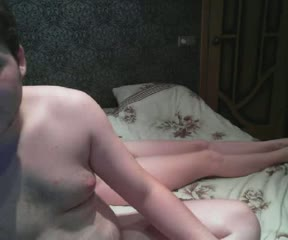 Chubby couple having fun on webcam