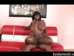 Ebony babe with huge tits fucked with black hunk