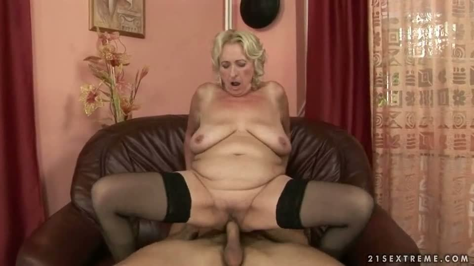 Fat grandma riding big young cock