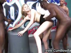 Horny blonde whore in gang-bang