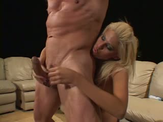 Big tits chick gives a lucky guy a handjob
