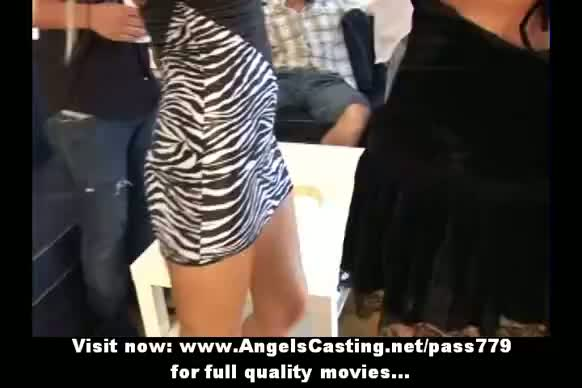 Amateur orgy with drunken chicks undressing and fucked hard on table