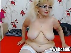 amateur, bbw, granny, webcam, big tits, blonde, fat, rubbing, stockings