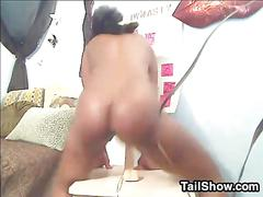 Mixed race slut riding a dildo