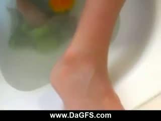 Bathroom anal fuck with a cum thirsty blonde