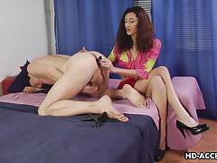 Redhead femdom lady strapon fucking the dude's ass doggy style