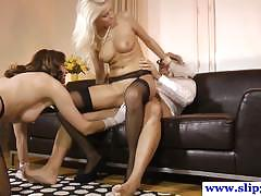 Hot amateur blonde and brunette fuck old man senseless