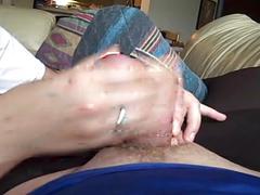 Handjob for dick in pantyhose