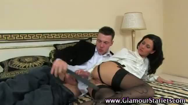 Glamorous euro clothed babe gets fucked