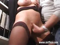 Busty brunette milf fisted and jizzed on her face