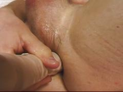 Horny blonde daddy solo jerking and anal dildo pumping session
