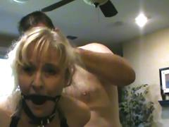 Ball gag on with intense squirt