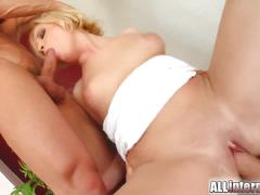 Blonde's holes penetrated and cum stuffed
