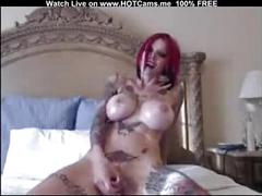 Super hot tattooed redhead with big tits masturbate