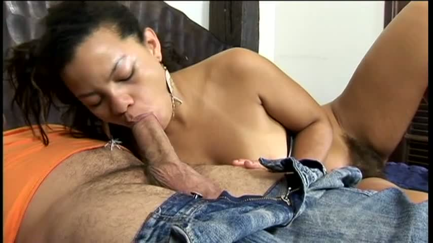 Black chick with extremely hairy pussy is fucked in bedroom