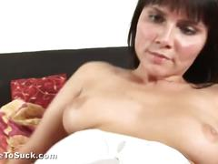 Brunette slut cums on cock