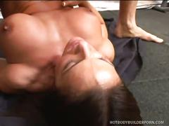 Busty kristine madison masturbates and takes on two cocks