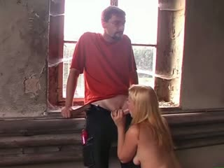 Young german amateur couple blowjob in a old factory