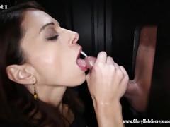 Gloryhole secrets eva sucking and swallowing hot cum 1