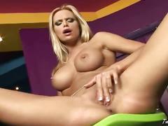 Busty blonde slut solo action