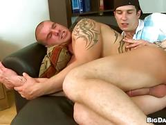 Delirious anal barebacking on couch with spicy muscled hunks