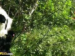 Hot babe fucking with panda mascot in the wood