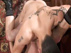 Leather wearing hunks bareback ass fucking