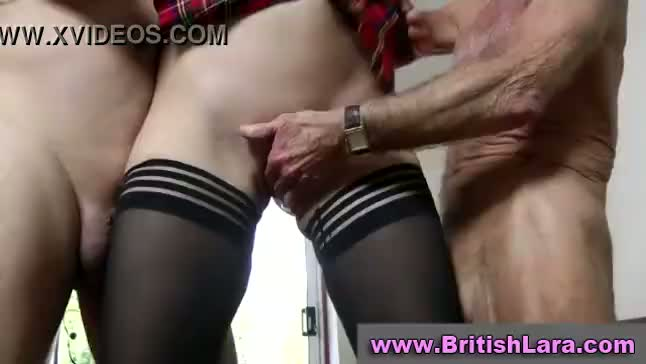 Mature british lady in stockings fucks two dirty old men