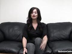 brunette, cumshot, hardcore, pussy, office sex, black hair, doggy style, interview, missionary, reality, shaved pussy, tight pussy
