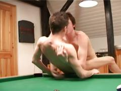Ripe for pounding tight ass twinky charmers shoving on pool table
