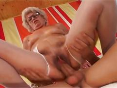 blonde, hardcore, mature, pornstar, toys, old & young, francsina, dildo, granny, old woman young man, reverse cowgirl, spoon, white hair
