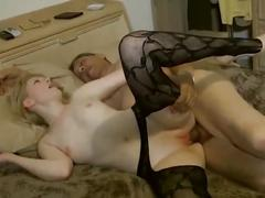 Young blonde fucks older man