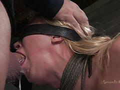 milf, blonde, bdsm, big tits, tied, domination, blindfolded, mouth fuck, ropes, on chair, vault, executor, shibari, sexually broken, darling, matt williams